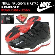 NIKE AIR JORDAN 11 RETRO Black/Red/White BRAND JORDAN LEGACY 378037-010画像