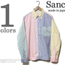 SANCA クレイジーストライプ ビッグシルエットボタンダウンシャツ S15SSH10画像