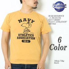 "Buzz Rickson's × PEANUTS S/S T-SHIRT ""NAVY ATHLETICS"" BR77845画像"