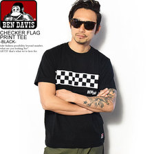 BEN DAVIS CHECKER FLAG PRINT TEE -BLACK- C-8580024画像