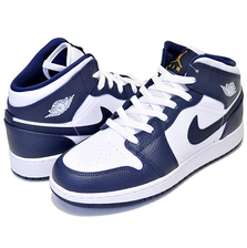 NIKE AIR JORDAN 1 MID(GS) white/metallic gold-obsidian 554725-174画像