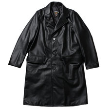 Schott 568US LEATHER CHESTER COAT BLACK画像