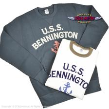 "TOYS McCOY BIG WAFFLE CREW NECK SHIRT "" U.S.S. BENNINGTON"" TMC2055画像"