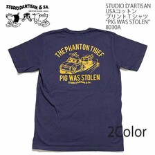 "STUDIO D'ARTISAN USAコットン プリントTシャツ ""PIG WAS STOLEN"" 8030A画像"