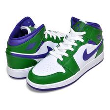 NIKE AIR JORDAN 1 MID (GS) aloe verde/court purple-white 554725-300画像