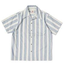 SAMURAI JEANS SOS21-S01 藍刺し子ストライプオープンカラーシャツ画像