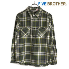 FIVE BROTHER HEAVY FLANNEL WORK SHIRTS GREEN CHECK 152160画像