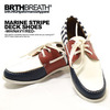 BRTHBREATH MARINE STRIPE DECK SHOES(WH/NAVY/RED) 55383002画像