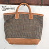 T.K GARMENT SUPPLY ROLLED DUAL HANDLE TOTE BAG Large wool check画像