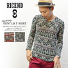 RICEND 総柄 ペイズリープリント Vネックカットソー 636-7135画像