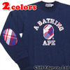 A BATHING APE BAPE CHECK APPLIQUE COLLEGE CREW NECK 1A30-113-001画像