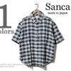 Sanca ビッグシルエット半袖チェックボタンダウンシャツ S15SSH17画像