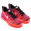 NIKE WMNS FLYKNIT MAX BLACK/WHITE/PINK FOIL-HOT LAVA 620659-006画像
