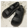 THE SANDALMAN VELCRO STRAP SANDAL HORWEEN LEATHER BLACK画像