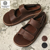 THE SANDALMAN VELCRO STRAP SANDAL HORWEEN LEATHER BROWN画像