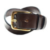 MARTIN FAIZEY 1.25 INCH WEST END BUCKLE SADDLE LEATHER BELT/brown(brass)画像