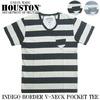 HOUSTON INDIGO BORDER V-NECK TEE 21336画像