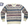 Jamieson's MK158-918 CREWNECK FAIRISLE SWEATER/white mix画像