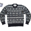 Jamieson's MK158C-625 CREWNECK FAIRISLE SWEATER navy x white画像