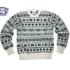 Jamieson's MK158C-625 CREWNECK FAIRISLE SWEATER white x navy画像