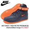 NIKE AIR FORCE 1 HIGH RETRO PREMIUM QS Obsidian/Brilliant Orange NYC FINEST AO1636-400画像