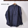 INDIVIDUALIZED SHIRTS L/S CLASSIC FIT PULLOVER BAND COLLAR SHIRT NAVY画像