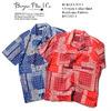 BURGUS PLUS S/S Open Collar Shirts Bandanna Pattern BP17503-3画像