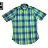 IKE BEHAR #MF1301SB S/S B.D. MADRAS SHIRTS blue x green画像