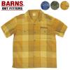 BARNS オープンカラー チェック 刺繍シャツ BR-7523画像