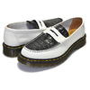 Dr.Martens × STUSSY PENTON LOAFER WHITE+BLACK MADE IN ENGLAND VIBRANCE CROCO 24359101画像