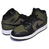 NIKE AIR JORDAN 1 MID(GS) olive canvas/black-white 554725-301画像