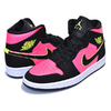 NIKE WMNS AIR JORDAN 1 MID BLACK/VOLT-HOT PUNCH-WHITE BQ6472-006画像