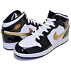 NIKE AIR JORDAN 1 MID SE(GS) black/metallic gold-white BQ6931-007画像