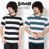 Schott INDIGO BORDER POCKET T-SHIRT 3193063画像