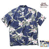 TWO PALMS RAYON ALOHA SHIRTS BLUE MADE IN USA画像