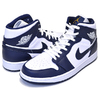 NIKE AIR JORDAN 1 MID white/metallic gold-obsidian 554724-174画像