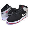 NIKE AIR JORDAN 1 MID (GS) black/gym red-metallic silver 554725-057画像