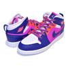 NIKE JORDAN 1 MID (PS) fire pink/regency purple 640737-602画像