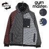 gym master ボーダー スウェット × ナイロン フードジャケット G321668画像