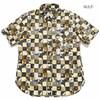 """衣櫻 Lot.SA-1394ゴールドラメ シーチング素材 半袖レギュラーシャツ """"猫市松""""画像"""